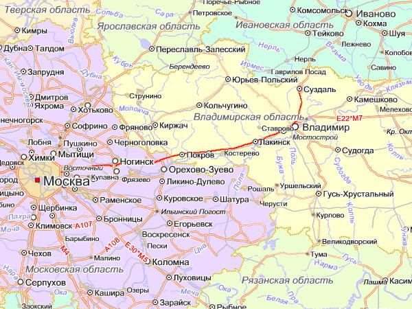 схема проезда Москва Суздаль